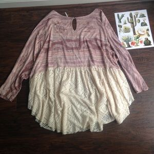 Free People Flowy Boho Purple/Cream Ruffle Top